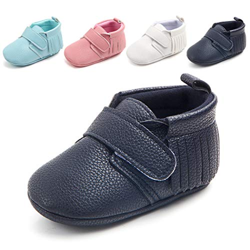 Cindear Infant Baby Boys Girls Soft Tassels Cirb Shoes Synthetic Leather Toddler First Walker Shoes Dark Blue 12-18 Months