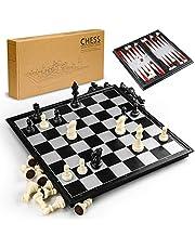 Gibot 3-i-1 schackbrädeset, 31,5 cm x 31,5 cm magnetiskt schackbräde med schack, schackbräde, backgammon för barn och vuxna, hopfällbar och bärbar spelbräda för resor, svart och vitt