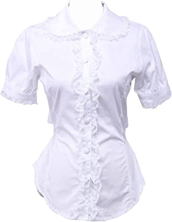 Blanca Algodón Encaje Victoriana Sailor Volantes Lolita Casual Camisa Blusa de Mujer: Amazon.es: Ropa y accesorios