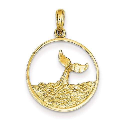 Jewelry Stores Network 14k Yellow Gold Whale Tail Extending Out of Ocean Waves Round Pendant 27x18mm