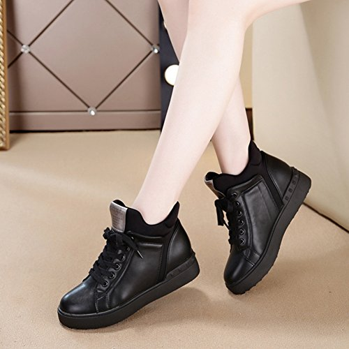 Btrada High Top Flat Casual Sport Running Shoes Lace Up Platform Waterproof Fashion Sneaker Black yhbj4IijfB
