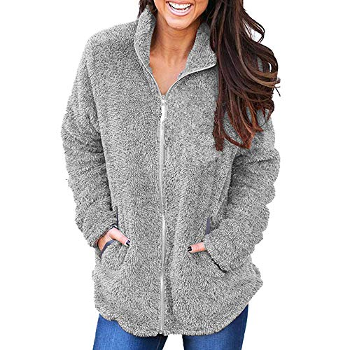 Plush Kyo - Letdown Women Fluffy Plush Warm Winter Pure Color Hoodie Coat Jumper Overcoat Jacket Outwear(XL,Gray)