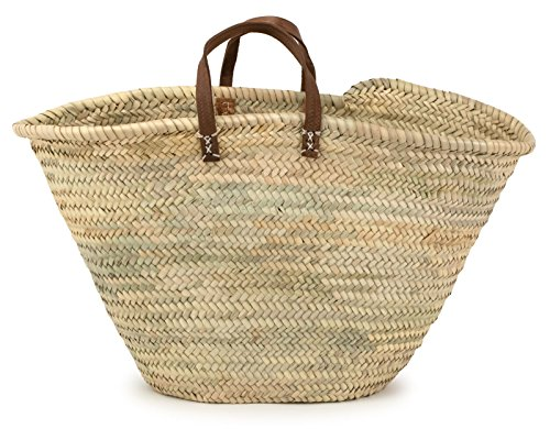 Moroccan Straw Market Bag w/ Brown Leather Strip Handles, 25