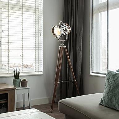 QAZQA Moderno Lámpara de pie TRIPOD Torch madera y cromo ...
