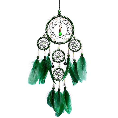 Jescrich Dream Catcher Traditional Handicrafts Dream Catcher Hanging Feathers Ornament with 5 Rings, Wall Hanging Gift(19.6 Long) (Green)