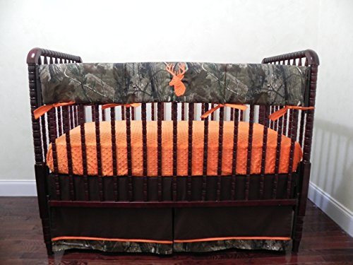 Nursery Bedding, Bumperless Baby Crib Bedding Set, Baby Boy Bedding, Crib Rail Cover, Woodlands Deer Camouflage and Orange Baby Bedding - Choose Your Pieces