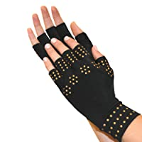 North American Health + Wellness Magnetic Arthritis Therapy Fingerless Compression Gloves, Black, Large