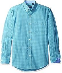 IZOD Men\'s Advantage Performance Non Iron Stretch Long Sleeve Shirt, Gleam, Large