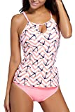 PinkWind-Womens-Anchor-Print-Keyhole-Two-Pieces-Swimsuits-Tankini-with-Shorts-L