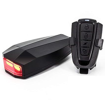 XIAOKOA Las luces traseras de la bicicleta alarma antirrobo inteligente alarma de carga USB llevó luces de alarma de advertencia de flash láser para ...
