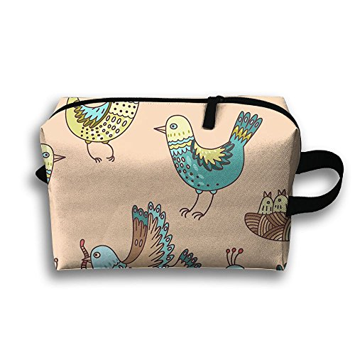 Cartoon Birds Full Print Classic Travel Cosmetic Pouch Bag Lightweight Makeup Bag Large Capacity For Travel Home Toiletry Purse Pouch With Zipper