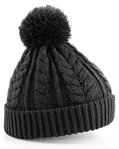 Heavyweight Hat (Beechfield Cable knit snowstar beanie Charcoal)