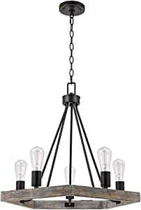 Catalina Lighting 22164-000 Country Rustic Geometric 5-Light Metal Cage Chandelier with Faux Trim, 21