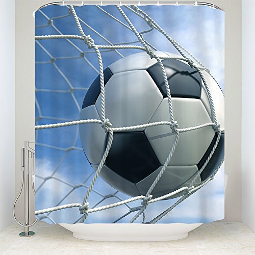 CELYCASY Soccer Goal Net White and Black Football Photo Design Ball Sports Lover Home Bath Decor Designs for Teenagers Fabric Shower Curtain Exclusive,60X72Inch