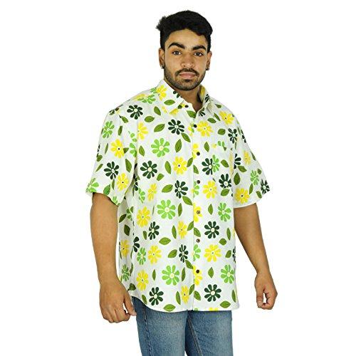 KOKOM -  Camicia Casual  - Maniche corte - Uomo Grün und Gelb Large
