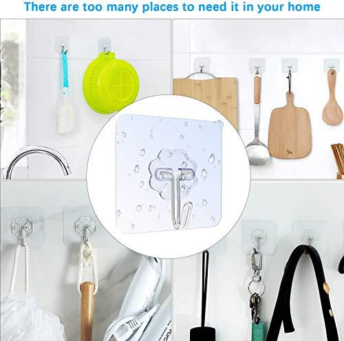 519szKplcLL 12 Stk. Haken Selbstklebend Handtuchhaken, Max 8kg Klebehaken Transparent Ohne Bohren, Badezimmer Haken für Küche Bad…