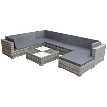 Vidaxl Gartensofa 24 Tlg Poly Rattan Grau Sitzgruppe Lounge