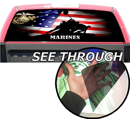 P354 American Flag Marine Tint Rear Window Decal Wrap Graphic Perforated See Through UNIVERSAL SIZE 65