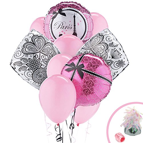 Paris Eiffel Tower Damask Party Supplies - Balloon Bouquet (Pink And Black Damask Party Supplies)