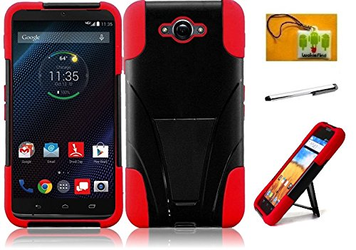 LF 3 in 1 Bundle - Hybrid Dual Layer Case with Stand, Stylus Pen & Wiper for (Verizon) Motorola Droid Turbo XT1254 (Stand Red) (Faceplates Motorola Blue)