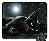 Schoolsupplies Black cat in moonlight Mouse Pad, Mousepad (Cats Mouse Pad)