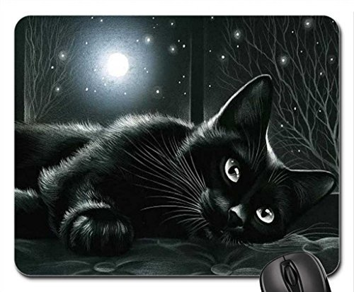 Schoolsupplies Black cat in moonlight Mouse Pad, Mousepad (Cats Mouse Pad) ()