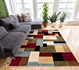 "Imperial Mosaic Multicolor Geometric Modern Casual Area Rug 7x10 ( 6'7"" x 9'6"" ) Easy to Clean Stain / Fade Resistant Shed Free Abstract Contemporary Color Block Boxes Soft Living Dining Room Rug"