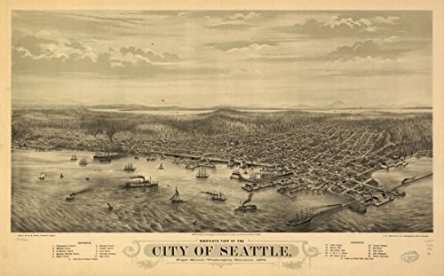 Map: 1878 Bird's eye view of the city of Seattle, Puget Sound, Washington Territory, - Men Pakistani Pictures