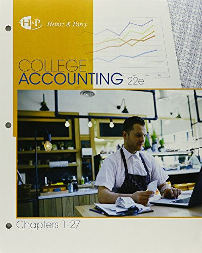 Bundle: College Accounting, Chapters 1-27, Loose-Leaf Version, 22nd + Study Guide with Working Papers, Chs 1-15 + Cengag