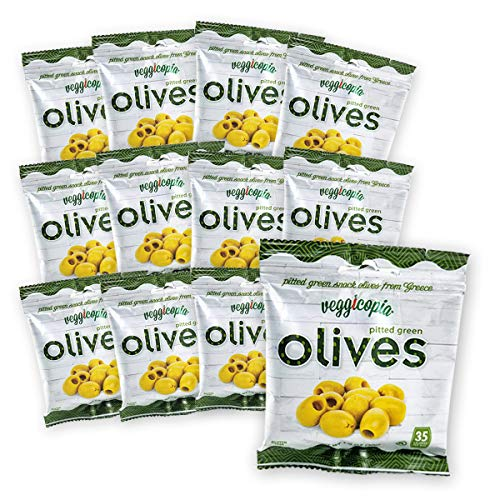 (Veggicopia Olives, Tasty Green Pitted Olives - Keto - 1.05 Ounce Snack Bags (Pack of 12))
