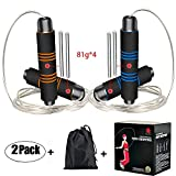 2 Pack Speed Jump Ropes Fitness Rope, Ponydash Adjustable&Durable&Weighted&360 Degree Spin&Foam Grips Handles Exercise Skipping Rope-for Boxing, Crossfit, MMA, Workout -for Kids Women Men Adult
