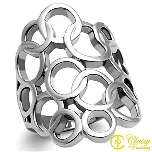 Classy Not Trashy Women's Fashion Jewelry Ring, Premium Grade Stainless Steel Interlinked Circles High Polish Ring Size 10 from Classy Not Trashy