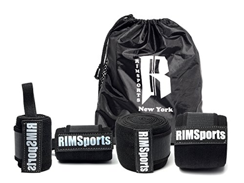 RIMSports Wrist Wraps - Knee Wraps Combo Best Knee Support for Squats - Ideal Wrist Straps for Weightlifting - Preferred Weightlifting Knee Wraps 80
