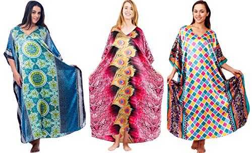 Up2date Fashion Set of 3 Caftans, Geometric Print Selection, One Size Fits Most, Special#20