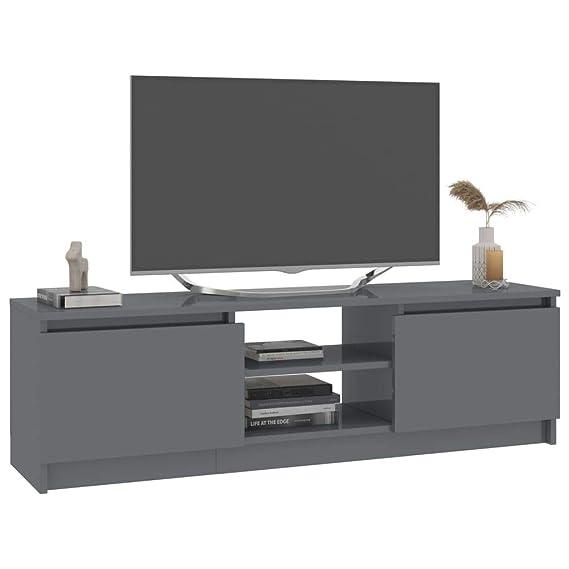 Tidyard Mueble para TV de aglomerado Mesa para TV Diseño Moderno Aparador para TV Mueble TV Salón Mesa Televisión Mueble Comedor Televisor, Gris Brillante 120x30x35,5 cm: Amazon.es: Hogar