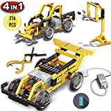 PinSpace 4 in 1 Electric Race car Building Set, 216 Pieces Kids DIY Engineering Vehicle, Street Sweeper, gripping Pliers, Basketball Stand Building Blocks Set with Electronic Motor, Creative Building
