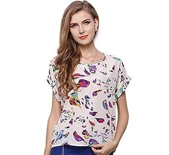 JOYHY Women's Chiffon Short Sleeve Casual Blouse Top T-Shirts Birds Print