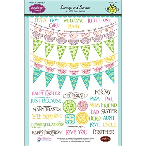 Justrite 38-Piece Papercraft Clear Stamp Set, 6 by 8-Inch, Buntings and Banners (Word Acrylic Album Book)