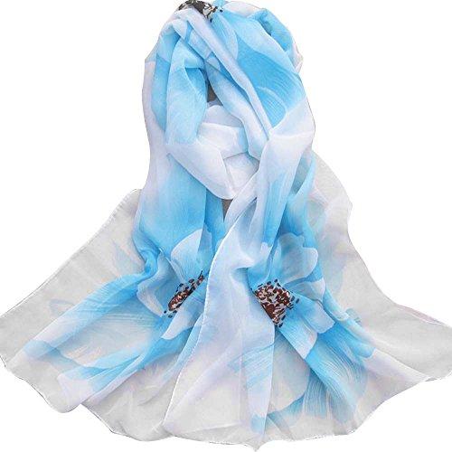 ManxiVoo Women's Flower Print Thin Chiffon Silk Scarf Long Beach Scarves Wrap Shawl for Ladies (Light Blue)