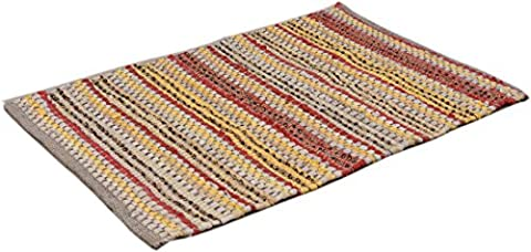 2 x 3 feet Cotton Rag rug 7 color options, handmade heavy woven ,Premium quality branded Chindi rug by La Vivien (2 x 3, Yellow (Cotton Area Rugs 2x3)