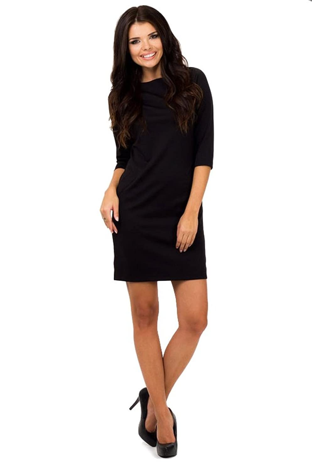 Berry? Women's Sexy Jersey Dress with Pockets 3/4 Sleeve Size 22 Black