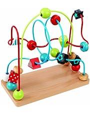 KidKraft 63241 Laberinto de cuentas de madera para niños, juego educativo para identificar formas, colores, números y letras