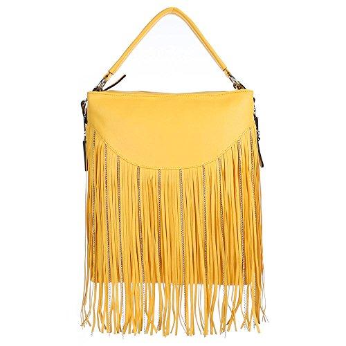 Schultertasche Handtasche mit Fransen Hellbraun Gelb 3Xgt7