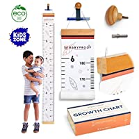 Growth Chart for Kids by Baby Proof - Measuring Height Chart/Kids Decor with Wooden Box! Cute Baby Shower Gift and First Birthday Gift - Size Chart Measurement, Growth Chart Ruler for Wall