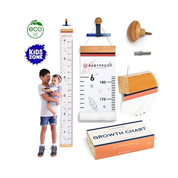 Growth Chart for Kids by Baby Proof – Measuring Height Chart and Kids Decor! Meaningful Memories through Kid Size Chart Measurement. Falling Leaves Growth Chart Ruler for Wall with Wooden Keepsake Box