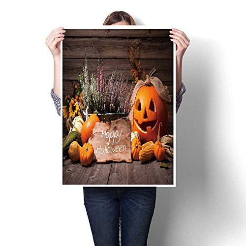 1 Piece Canvas Wall Art Halloween Still Life with Pumpkins and Halloween Holiday Text Canvas,20