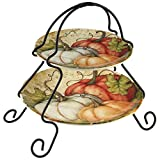 Certified International 22748 Autumn Fields 2-Tier Server (7'' and 9'' Plate) Servware, Serving Accessories, One Size, Multicolored