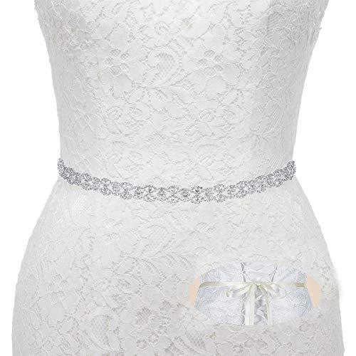 Bridal Wedding Thin Rhinestone Belts - Dress Accessories Sash Crystal Belt,(Rose gold&Ivory
