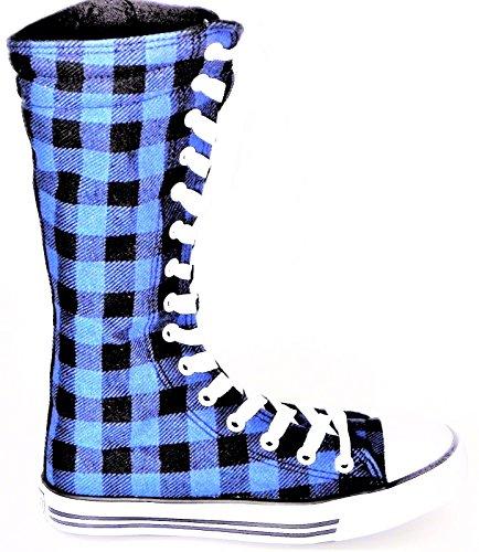 Ragazze Bambini Nuovo Dev-10 Tela Alto Punk Skate Classico Scarpe Da Ballo Avvio Scarpe Da Ginnastica, Prendere In Considerazione 1 Dimensioni Fino Nero Plaid Blu