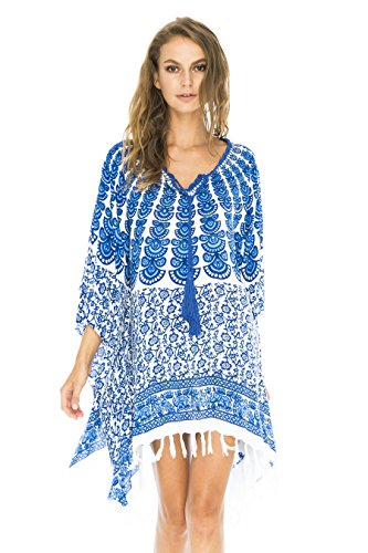 Back-From-Bali-Womens-Swimsuit-Cover-Up-Tunic-Beach-Caftan-Top-Peacock-Design